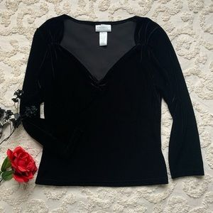 Elegant Rich Black Velvety Blouse